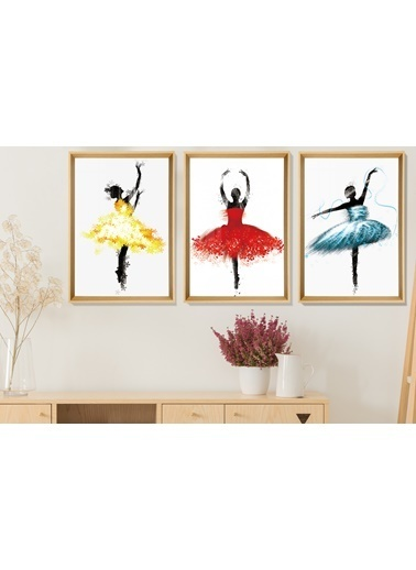Çerçeve Home  Ballerina Girls Natural Çerçeve Tablo Seti Renkli